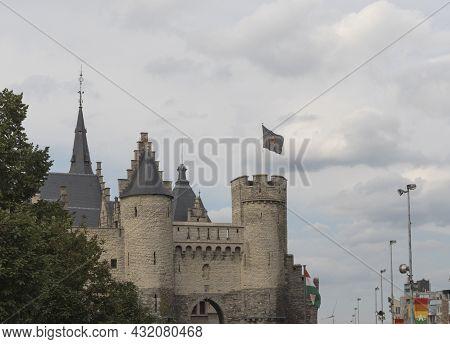Antwerp. Flemish Region. Belgium 15-08-2021. Fragment Of A Medieval Castle On A Tavernierkaai Street