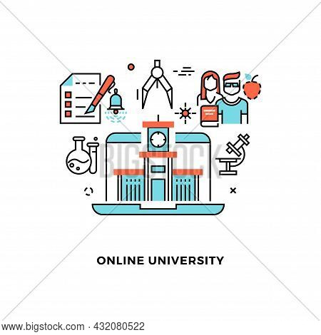 Online Education Concept. Webinar, Distance Learning On Web Platform. Students Science And Research