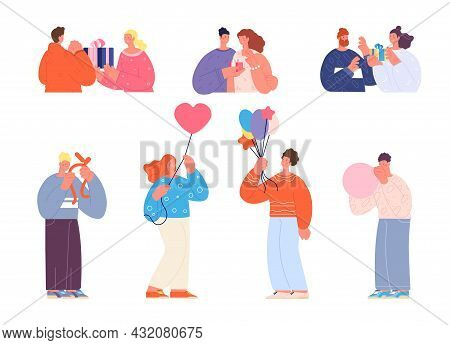 Birthday Celebration Characters. Woman Party, People With Balloons. Flat Teens Anniversary. Person T