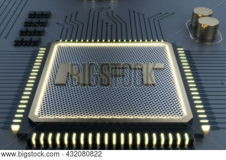 Dark Shiny Nft Chip On Gray Background. Non-fungible Token And Hardware Concept. 3d Rendering
