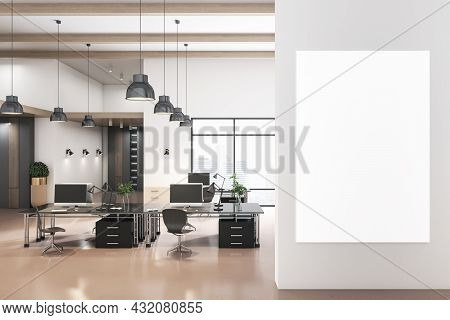 Modern Coworking Concrete Office Interior With City View, Empty White Poster And Daylight. Mock Up,