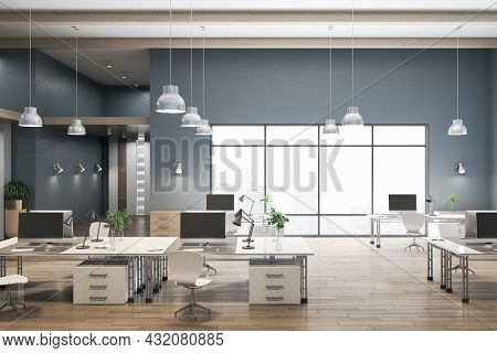 Luxury Coworking Concrete Office Interior With City View, Wooden Flooring And Daylight. 3d Rendering