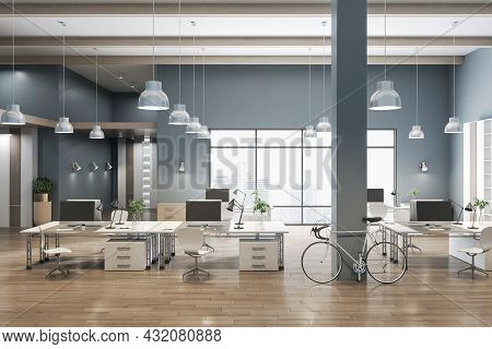 Modern Coworking Concrete Office Interior With City View, Wooden Flooring And Daylight. 3d Rendering