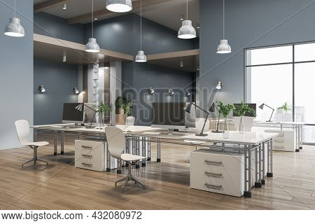 Gray Coworking Concrete Office Interior With City View, Wooden Flooring And Daylight. 3d Rendering