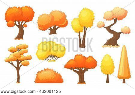 Cartoon Autumn Yellow Trees. Bright Tree, Forest Fall Landscape Elements. Orange Bush. Colorful Seas