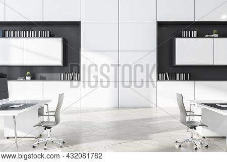 Modern White Concrete Coworking Office Interior With Daylight And Furniture. Business Interiors Conc