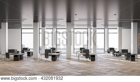 Clean Grey Coworking Office Interior With Wooden Flooring, Daylight And City View. Business Interior
