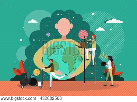 Ecologists Taking Care Of Planet, Vector Illustration. Woman Hugging Globe. Save Environment. Love N