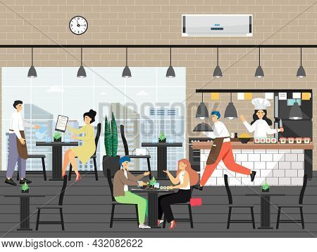 People In Restaurant, Flat Vector Illustration. Chef Cooking In Kitchen, Waiters Serving Customers,