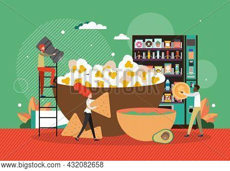 Chefs Preparing Popcorn, Crackers. Man Buying Snacks From Vending Machine, Vector Illustration. Snac