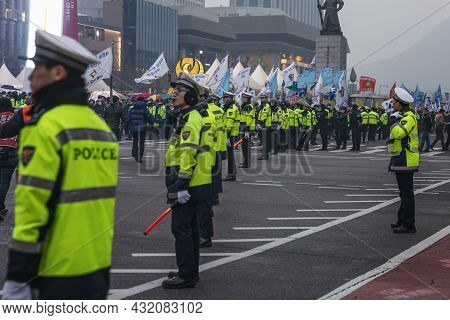 Column Of Policemen On The Main Street. Protests And Demonstrations Of The People. Seoul, South Kore