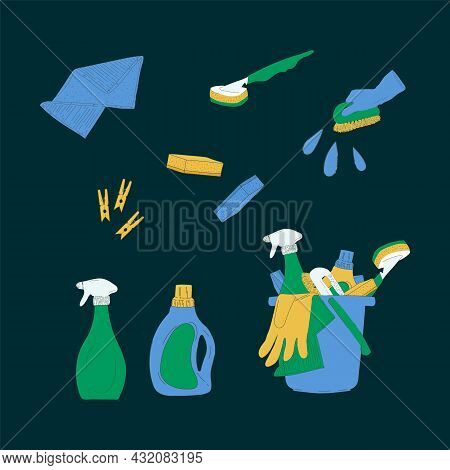 Set Of Pictures Laundry And Cleaning Services. Powders, Detergents, Brushes, Rags, Sponges, Buckets,