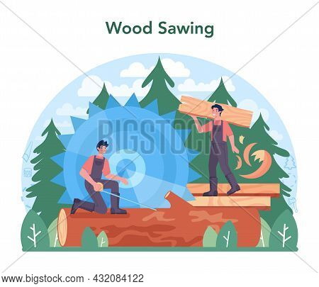 Wood Industry And Timber Production. Logging And Woodworking