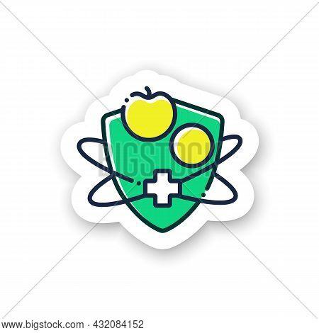 Immune System Vitamins Sticker Icon. Nutritive Supplements.immunity Strengthening Badge For Designs.