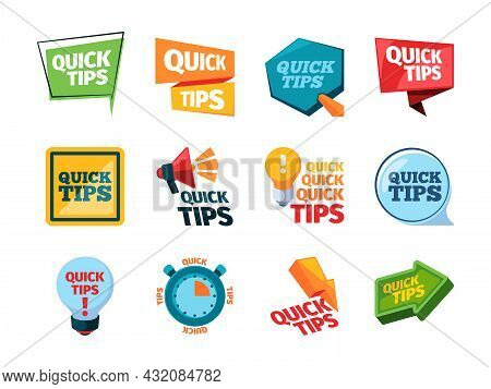 Quick Tips. Promo Labels Idea Reminder Stickers Education Messages Think Marks Creative Colored Idea