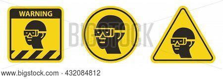 Caution Sign Eye Protection Required Symbol Isolate On White Background