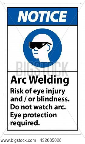 Notice Sign Arc Welding Risk Of Eye Injury And/or Blindness, Do Not Watch Arc, Eye Protection Requir