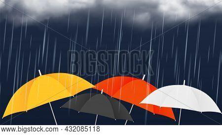 Monsoon Sale Banner. Colorful Umbrellas And Rainy Clouds. Autumn Rain Weather, Realistic Vector Illu