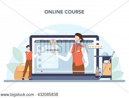 Stewardess Online Service Or Platform. Flight Attendants Help Passenger