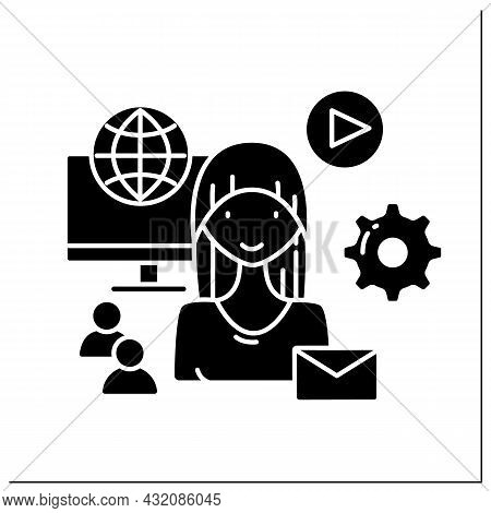 Social Media Manager Glyph Icon. Smm. Promotion Of Companies.solving Business Problems.marketer, Cus