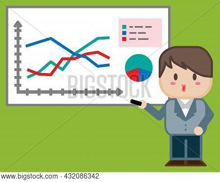 A Cartoon Businessman Presenting  Business Chart Graph