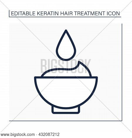 Mask Line Icon. Keratin Hair Treatment Mask. Moisturizing And Strengthening Procedure. Keratin Treat