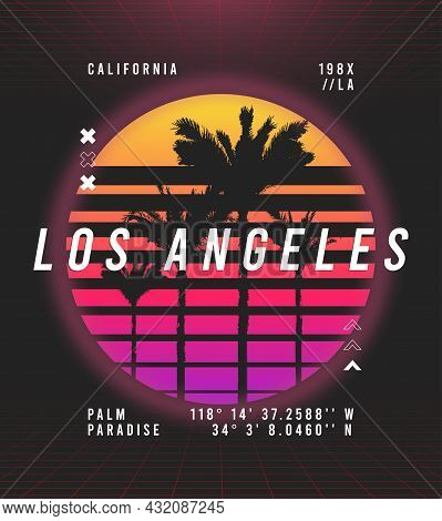 Los Angeles, California T-shirt Design In Retro Futuristic Style. Typography Graphics For Retrowave