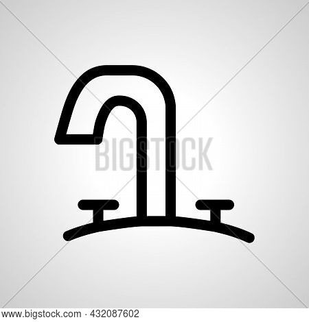 Washbasin Vector Line Icon. Kitchen Water Crane Linear Outline Icon