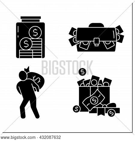 Money Glyph Icons Set. Bank Robbery, Cash In Present Box, Bag And Glasses Jar. Global Economy. Inves