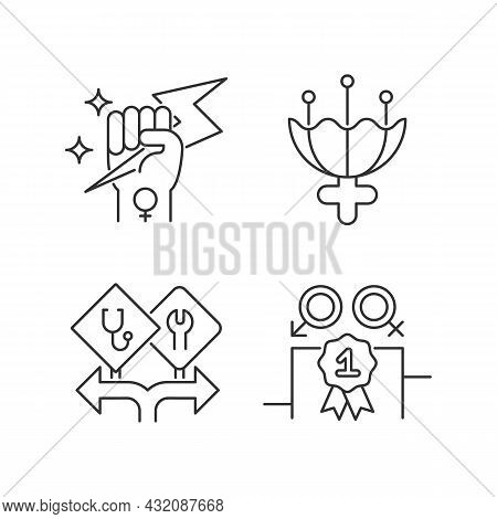 Women Empowerment Linear Icons Set. Female Authority. Femininity Attribute. Career Option For Girls.