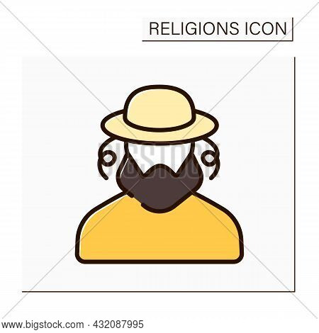 Judaism Color Icon. Representative Of Jewish Family. Ethnoreligious Group And Nation. Religion Conce