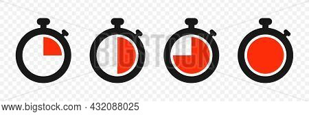 Timer And Stopwatch Icon Set Isolated On Transparent Background. Symbol Of Countdown Timer. Vector I