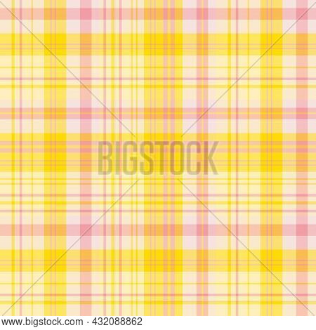Seamless Pattern In Yellow And Pink Colors For Plaid, Fabric, Textile, Clothes, Tablecloth And Other