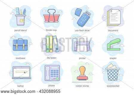 Office Supplies Concept Flat Icons Set. Bundle Of Pencil Stand, Binder Cup, Wastebasket, Document, B