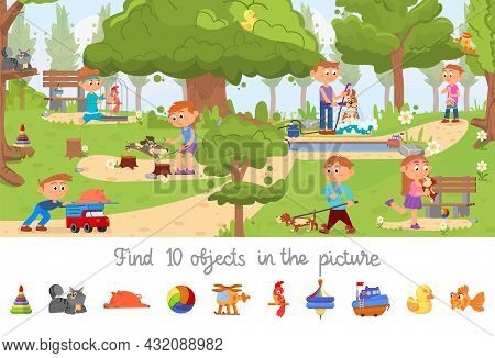 Hidden Object Game. Puzzle Location, Find Objects Picture For Kids. Children In Park With Dogs. Sear