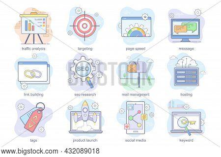 Seo Optimization Concept Flat Icons Set. Bundle Of Traffic Analysis, Targeting, Page Speed, Message,