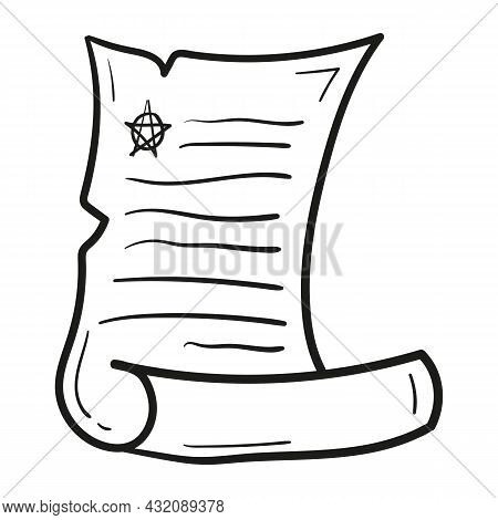 Hand Drawn Piece Of Paper Spell Icon In Doodle Style Isolated.