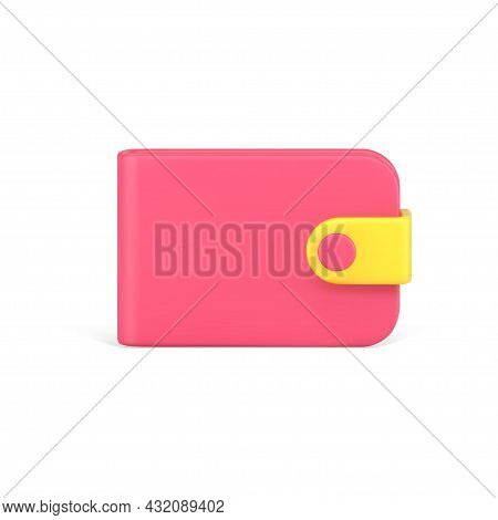 Red Trendy Wallet 3d Icon. Means For Storing And Carrying Banknotes With Clasp