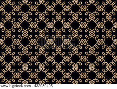 Abstract Geometry Pattern In Arabian Style. Seamless Vector Background. Gold And Black Graphic Ornam