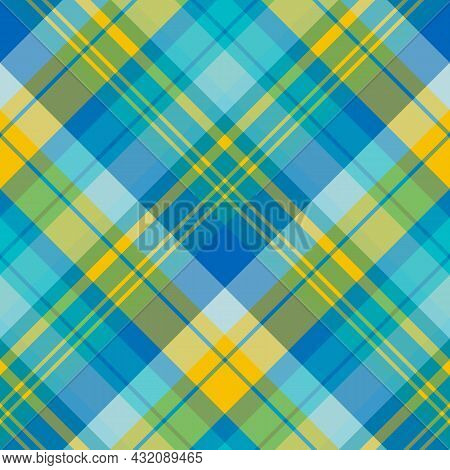 Seamless Pattern In Summer Blue And Yellow Colors For Plaid, Fabric, Textile, Clothes, Tablecloth An