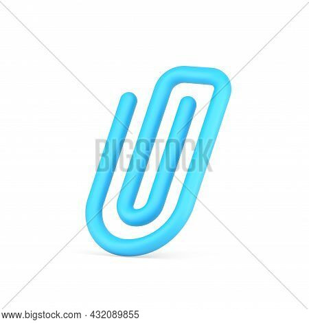 Plastic Blue Paper Clip 3d Icon. Tool For Fasteners Reminder And Documents