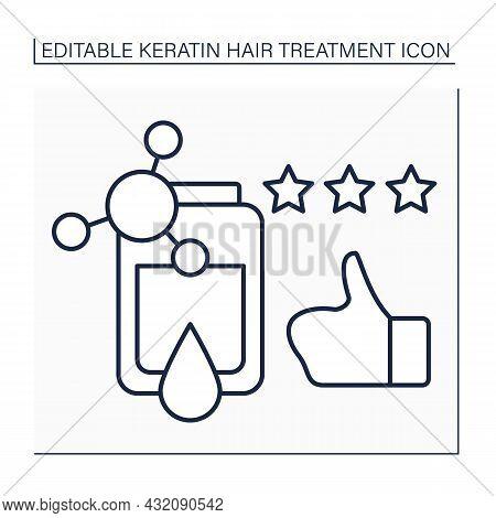 Keratin Reviews Line Icon. Positive Reviews For Keratin Treatment Procedure. Three Stars Rate. Happy