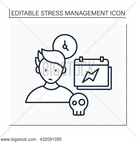 External Stressors Line Icon. Stress As Outside Events. Physical And Psychological Effects. Triggers