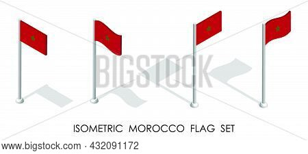 Isometric Flag Of Morocco In Static Position And In Motion On Flagpole. 3d Vector