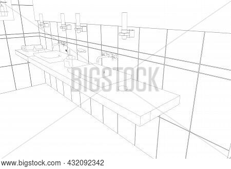 Contour Of A Room With Sinks From Black Lines Isolated On A White Background. Washbasins With Access