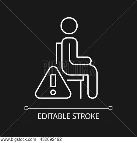 Remain Seated White Linear Manual Label Icon For Dark Theme. Thin Line Customizable Illustration. Is