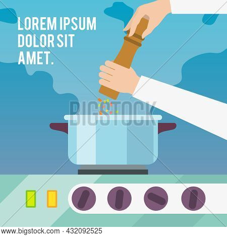 Chef Cook With Pepper Mill And Boiling Pot Flat Poster Vector Illustration