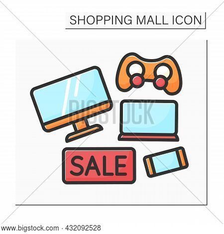 Electronics Store Color Icon. Special Electronic Devices On Sale. Tv, Laptop, Mobile Phone On Discou