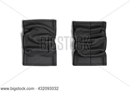 Blank Black Neck Gaiter Mockup, Front And Back, Top View, 3d Rendering. Empty Windproof Face Accesso