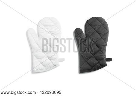 Blank Black And White Oven Mitt Mockup Front, Top View, 3d Rendering. Empty Fabric Mitten For Kitche